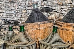 Demijohns of wine. Royalty Free Stock Photography