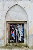 Demir Baba Teke. Shiite temple Demir Baba Teke. Historic stone window with grillage and ribbons Stock Photography