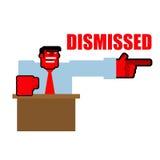 demitido Pontos irritados vermelhos do Bos à porta Yel agressivo do diretor Imagem de Stock