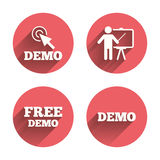 Demo with cursor icon. Presentation billboard Royalty Free Stock Photo