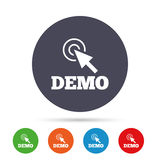 Demo with cursor sign icon. Demonstration symbol. Round colourful buttons with flat icons. Vector stock illustration
