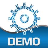 Demo Dotted Gear Blue Square Image stock