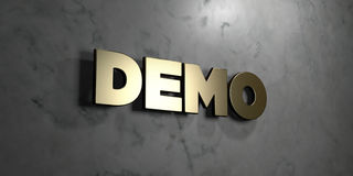 Demo - Gold sign mounted on glossy marble wall  - 3D rendered royalty free stock illustration. This image can be used for an online website banner ad or a Stock Image