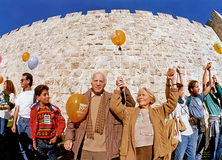 Demo for Peace in Jerusalem. Israeli film maven Lia Van Leer joins husband Wim Van Leer and thousands of others, linking hands for peace in 1990. on  December 30 Royalty Free Stock Image