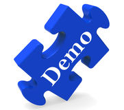 Demo Puzzle Shows Product Demonstration Trial Stock Photos