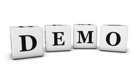 Demo Sign 3D Cubes Stock Photos