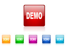 Demo square web glossy icon. Colorful set Royalty Free Stock Photo