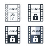 Demo video flat icon set. Royalty Free Stock Photography