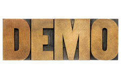 Demo word in wood type Stock Images