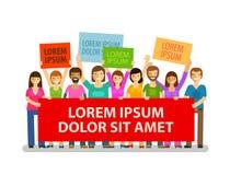 democracia Multidão de povos com cartazes Ilustração do vetor ilustração stock