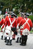Democracy 250 Reenactment, British Soldiers. Celebration in Halifax, Nova Scotia of 250 years of Democracy in Canada.  Canada's first elected assembly  met for Royalty Free Stock Photography