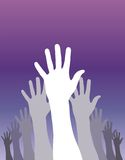 Democracy. A group of raised hands voting. Vector available Stock Photo