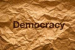 Democracy on Crumpled paper Stock Photos