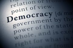 Democracy. Dictionary definition of the word democracy royalty free stock photography
