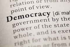 Democracy. Fake Dictionary, Dictionary definition of the word democracy. including key descriptive words stock photography