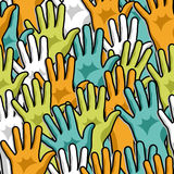 Democracy hands up pattern Stock Images