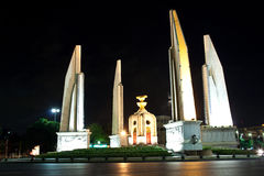 The democracy monument. Night view of the democracy monument in bangkok, thailand stock images