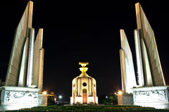 The democracy monument. Night view of the democracy monument in bangkok, thailand royalty free stock photography