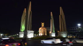 Democracy Monument in Bangkok night. Thailand stock video footage