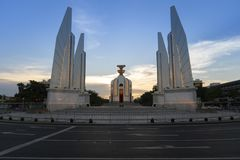 Democracy monument in Bangkok, Thailand. During sunset stock photos