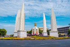 Democracy Monument of Bangkok, Thailand. Democracy Monument is a public monument in the centre of Bangkok. It occupies a traffic circle on the Ratchadamnoen royalty free stock photography