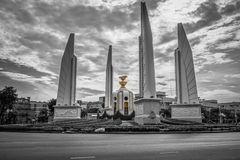Democracy Monument of Bangkok, Thailand. Democracy Monument is a public monument in the centre of Bangkok. It occupies a traffic circle on the Ratchadamnoen stock photo