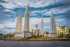 Democracy Monument of Bangkok, Thailand. Democracy Monument is a public monument in the centre of Bangkok. It occupies a traffic circle on the Ratchadamnoen royalty free stock image