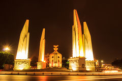 Democracy monument in Bangkok, Thailand. At night royalty free stock photos
