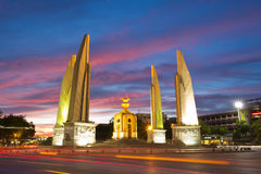 Democracy Monument at dusk. In Bangkok, Thailand royalty free stock photography