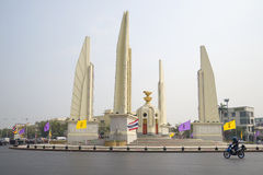 Democracy monument in the early morning. Bangkok. Thailand. BANGKOK, THAILAND - JANUARY 23, 2014: Democracy monument in the early morning stock image