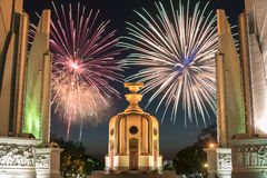 Democracy Monument with fireworks Royalty Free Stock Image