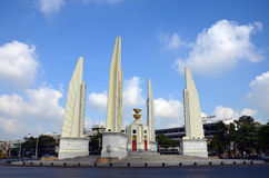 Democracy of Monument and four wing-like structures which guard the Constitution, representing the four branches of the Thai armed Royalty Free Stock Image