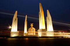 Democracy monument. Light on the road, Democracy in Thailand, The democracy monument in Thailand stock photography