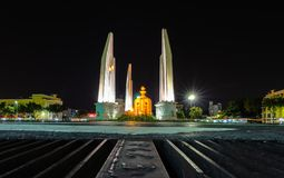 The Democracy Monument is a public monument in the centre of Bangkok, capital of Thailand. Democracy Monument at night in Bangkok stock images