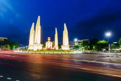 Democracy Monument in night time. With blur lighting stock photos