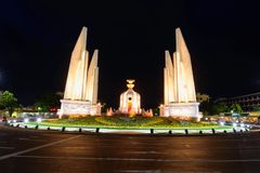 Democracy Monument in night time. With blur lighting stock photo