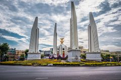 Democracy Monument of Bangkok, Thailand. Democracy Monument is a public monument in the centre of Bangkok. It occupies a traffic circle on the Ratchadamnoen royalty free stock images