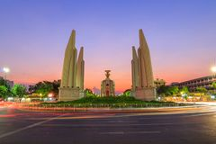Democracy Monument public landmark. In Bangkok in sunset time royalty free stock photo