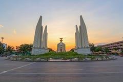 Democracy Monument public landmark. In Bangkok in sunset time royalty free stock image