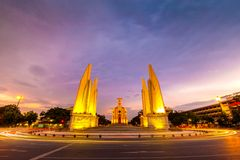 Democracy Monument in Sunset, Bangkok, Thailand Stock Photos