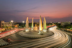 The Democracy Monument at twilight time at Bangkok,Thailand Royalty Free Stock Image