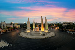 The Democracy Monument at twilight time at Bangkok,Thailand.  royalty free stock photography