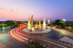 The Democracy Monument at twilight time at Bangkok,Thailand. The Democracy Monument at twilight time at Bangkok, Thailand Royalty Free Stock Images