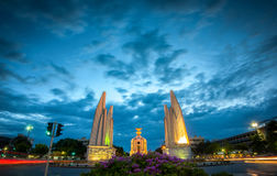 The Democracy Monument at twilight time at Bangkok,Thailand. The Democracy Monument at twilight royalty free stock images