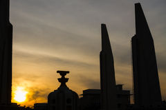 The Democracy Monument at twilight time at Bangkok,Thailand, Sil Stock Image