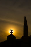 The Democracy Monument at twilight time at Bangkok,Thailand, Silhouette Stock Images