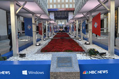 Democracy Plaza. NEW YORK - NOV 04 - NBC News transform the Rockefeller Center into Democracy Plaza, an interactive and innovative experience celebrating royalty free stock photo