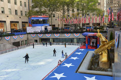 Democracy Plaza. NEW YORK - NOV 04 - NBC News transform the Rockefeller Center into Democracy Plaza, an interactive and innovative experience celebrating royalty free stock images