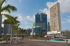 Democracy plaza in front of the skyline in panama city.  stock image