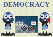 Democracy with politicians. Left and right wing democratic politicians on graph paper background stock illustration